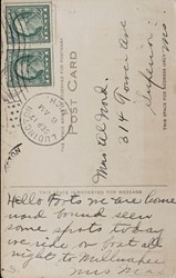 Reverse Side: First National Bank, Ludington, Mich. C.C. Kropp Co. Publ, Milwaukee, No. 8937