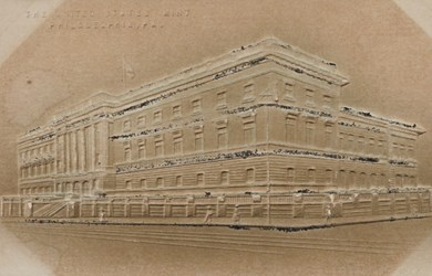 Print of the United States Mint, Philadelphia, PA.
