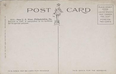 Reverse side: New U.S. Mint, Philadelphia, Pa.