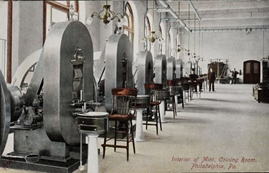 Interior of Mint, Coining Room, Philadelphia, Pa.