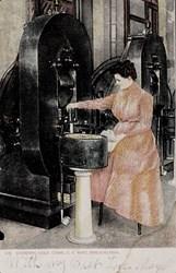 Stamping gold coins, U.S. Mint, Philadelphia.