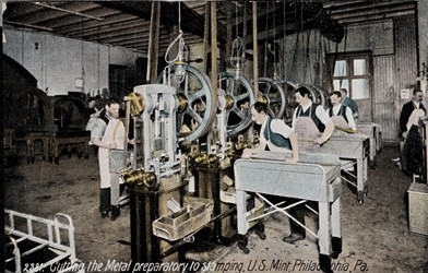 Cutting the metal preparatory to stamping, U.S. Mint, Philadelphia, Pa.