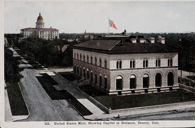 United States Mint, Showing Capitol in Distance, Denver, Colo.