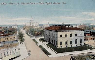 View U.S. Mint and Colorado State Capitol, Denver, Colo.