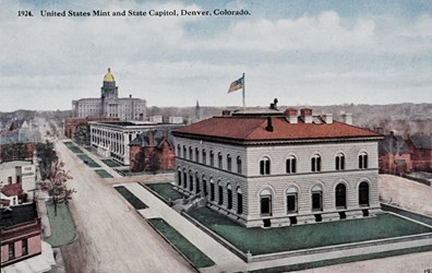 1924. United States Mint and State Capitol, Denver. Colorado.
