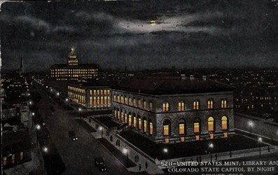 United States Mint, Library and Colorado State Capitol by Night, Denver, Colo.