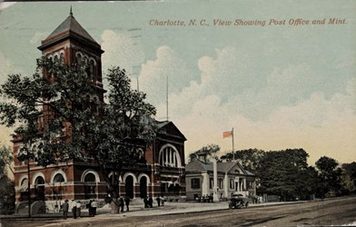 Charlotte, N.C., View Showing Post Office and Mint