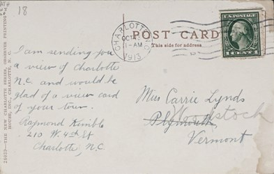 Reverse side: Charlotte, N.C., View Showing Post Office and Mint