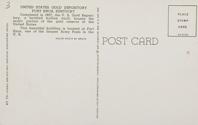 Reverse side: United States Gold Depository, Fort Knox, Kentucky