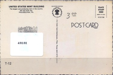 Fourth U.S. Mint Postcard