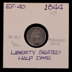 1844, V-3, Repunched Date
