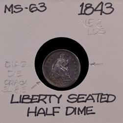 1843, V-5a, Shattered Obverse