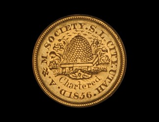 A.& M. Society. S.L. City, Utah, engraved on $10 gold piece
