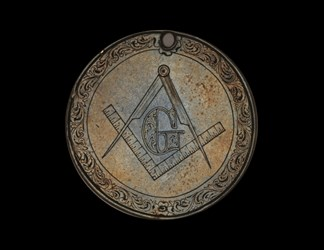 Masonic CSA Medal engraved on Mexico 8 reales piece