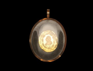 Perkins Washington Funeral Medal in glass bezel