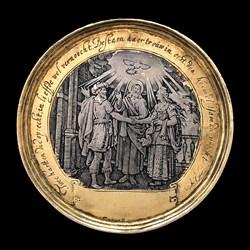 1650, marriage medal, gilt rim