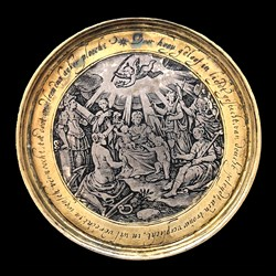 1650, marriage medal, gilt rim