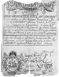 Early Paper Money of America / Connecticut / 1732 August New London Society for Trade and Commerce