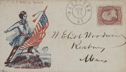 Hartford, Connecticut Envelope: Patriot with Flag