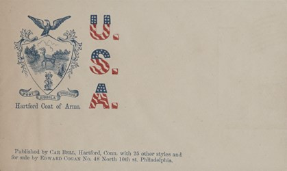 Car Bell, Hartford, Conn. Envelope: U.S.A., Hartford Coat of Arms