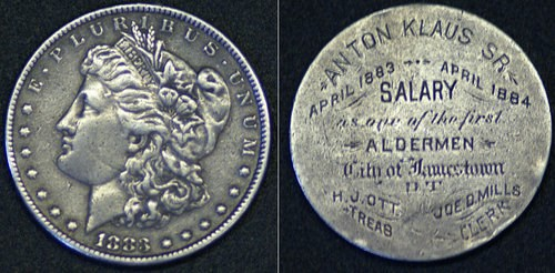 JAMESTOWN, NORTH DAKOTA ENGRAVED 1883 SILVER DOLLAR