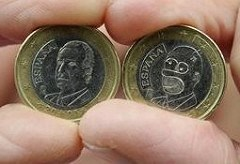 A HOBO HOMER SIMPSON ON A SPANISH EURO COIN