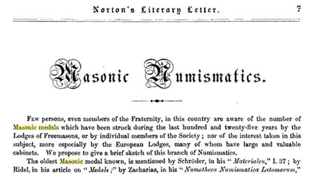FEATURED WEB PAGE: 1862 ARTICLE ON MASONIC NUMISMATICS