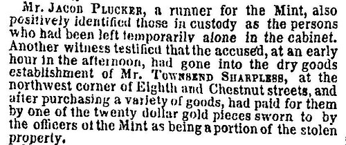QUERY: INFORMATION ON 1858 U.S. MINT CABINET ROBBERY SOUGHT