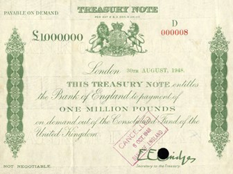 SPINK TO AUCTION MILLION POUND BANKNOTE
