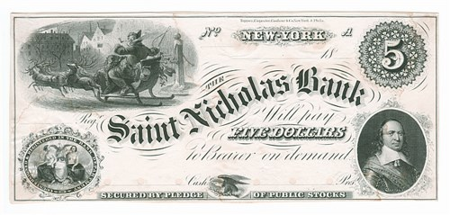 MERRY CHRISTMAS: SANTA CLAUS ON PAPER MONEY