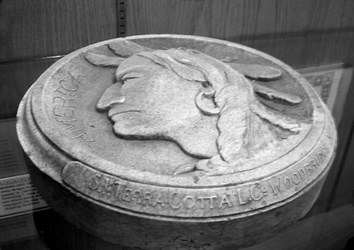 WOODBRIDGE BUFFALO NICKEL CLAY MODEL ACTUALLY AN ORNAMENTAL MEDALLION