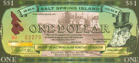 ANOTHER ALTERNATIVE CURRENCY: SALT SPRING DOLLARS