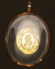 GEORGE WASHINGTON FUNERAL MEDAL BY PERKINS ENCAPSUATED IN GLASS