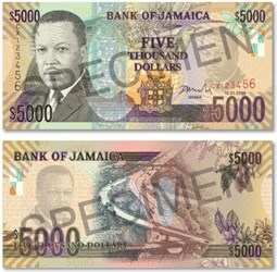 IMAGES OF JAMAICA'S NEW $5000 BANKNOTE