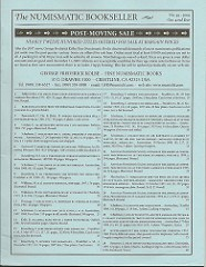 KOLBE NUMISMATIC BOOKSELLER FIXED PRICE LIST #49 AVAILABLE