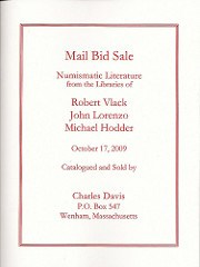CHARLES DAVIS OCTOBER 17, 2009 SALE CATALOGUES MAILED