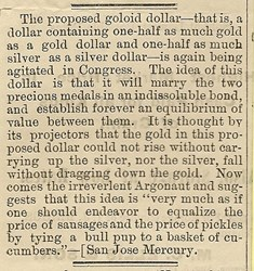 CONTEMPORARY THOUGHTS ON THE 1878 GOLOID DOLLAR PROPOSAL