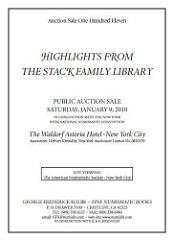 REMINDER: STACK FAMILY NUMISMATIC LIBRARY SALE JANUARY 9, 2010