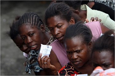 FOOD RATION COUPONS IN EARTHQUAKE-RAVAGED HAITI