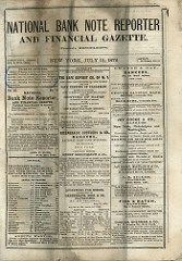 1872 NATIONAL BANK NOTE REPORTER AND FINANCIAL GAZETTE SOLD