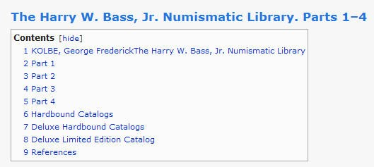 FEATURED WEB PAGE: HARRY BASS NUMISMATIC LIBRARY CATALOGS