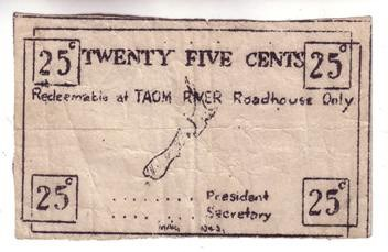 25 CENT TAOM RIVER ROADHOUSE MILITARY SCRIP OF 1943