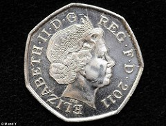 DAILY MAIL REPORTS 2011 50 PENCE COIN FOUND IN CIRCULATION