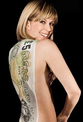 BANKNOTE PAINTED ON WOMAN'S BACK FOR CHARITY FUNDRAISER