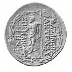 PROFESSOR STUDIES ASTROLOGICAL SYMBOLS ON COIN OF ANTIOCHOS VIII