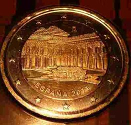 SPAIN'S NEW 2011 TWO-EURO COIN