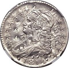 COUNTERPUNCHED PLATINUM 1814 HALF DOLLAR PATTERN