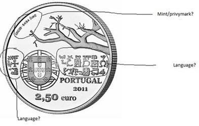QUERY: LANGUAGES AND MARKS ON PORTUGAL'S 2.5 EURO COIN