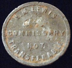 QUERY: LEWIS COMMISSARY TOKEN INFORMATION SOUGHT