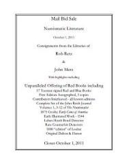 CHARLES DAVIS NUMISMATIC LITERATURE SALE OCTOBER 1, 2011